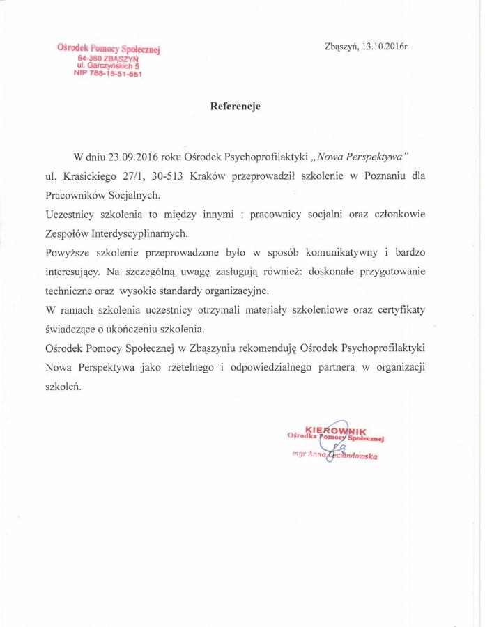 Opinia po szkoleniu w Poznaniu - Projekt socjalny